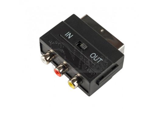 Переходник SCART - 3xRCA с переключателем Gal