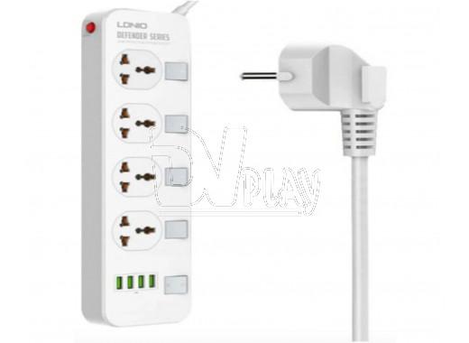 Сетевой фильтр LDNIO SC4408 (4 розетки, 2 м) 4 USB, выкл. на розетки