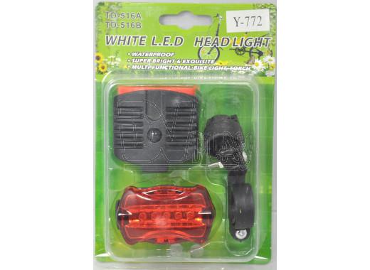 Велосипедный фонарь на батарейке красный Y-772