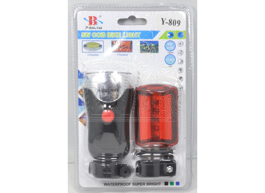 Велосипедный фонарь на батарейке Y-809 (передний + задний)