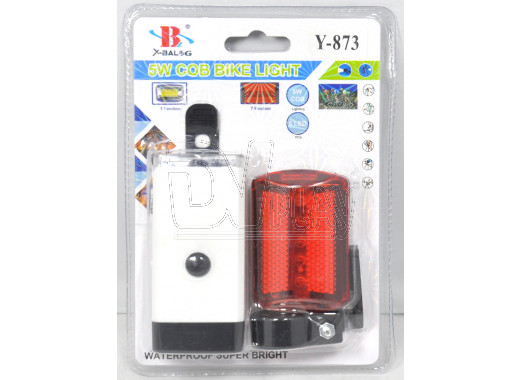 Велосипедный фонарь на батарейке Y-873 (передний + задний)