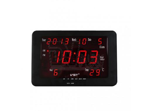 VST 802-W-1 часы настенные с датой и термометром с красными цифрами