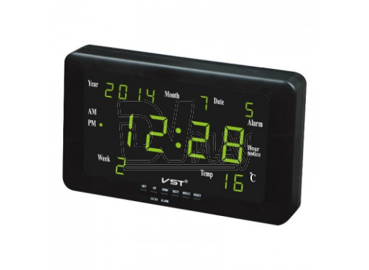 Часы электронные VST 802-W-4 настенные (часы,дата,термометр) ярко-зеленый