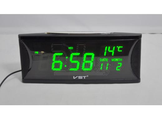 VST 719W-4 часы настольные с ярко-зелеными цифрами
