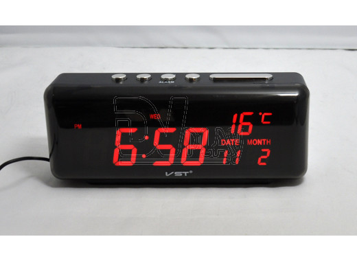 VST 762W-1 часы настольные с красными цифрами