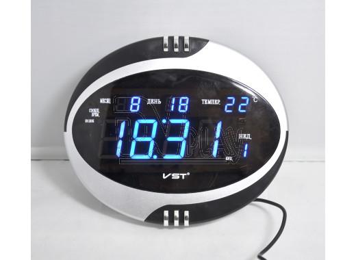 VST 770-T-5 часы настольные с датой и термометром с ярко-синими цифрами