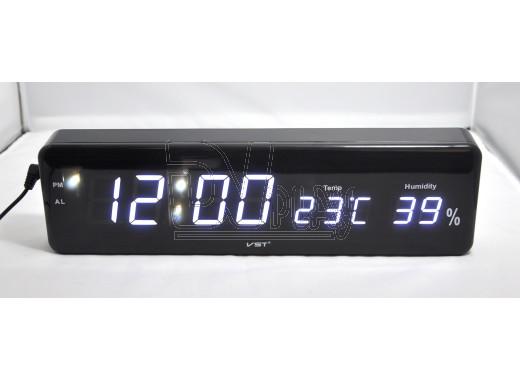 VST 805-S-6 часы настенные с датой и термометром с белыми цифрами
