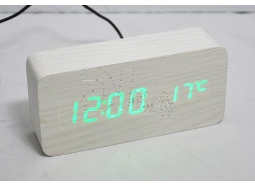 VST-862-4 часы настольные в деревянном корпусе (белый корпус, зеленые цифры)