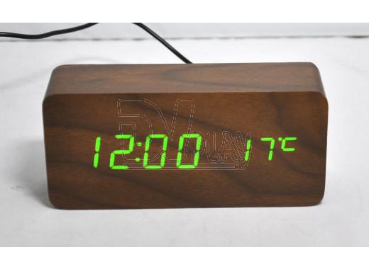 VST-862-4 часы настольные в деревянном корпусе (коричневый корпус, зеленые цифры)