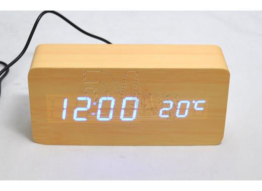 VST-862-5 часы настольные в деревянном корпусе (желтый корпус, синие цифры)