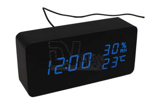 VST-862S-5 часы настольные в деревянном корпусе с датчиком влажности с синими цифрами