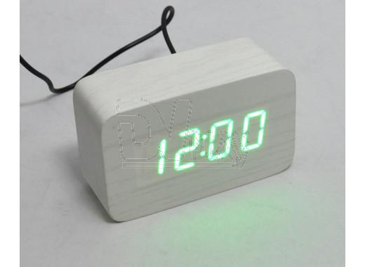 VST-863-4 часы настольные в деревянном корпусе (зеленые цифры)