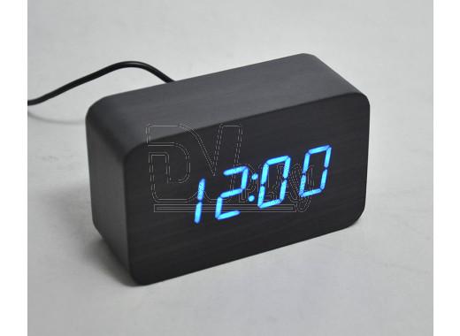 VST-863-5 часы настольные в деревянном корпусе (черный корпус, синие цифры)