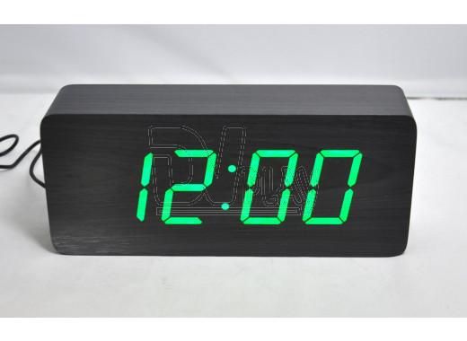 VST-865-4 часы настольные в деревянном корпусе (черный корпус, зеленые цифры)