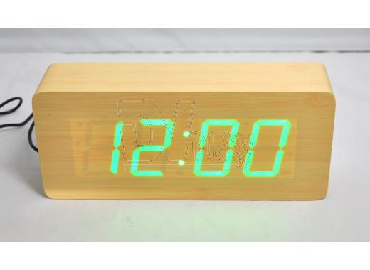 VST-865-4 часы настольные в деревянном корпусе (желтый корпус, зеленые цифры)