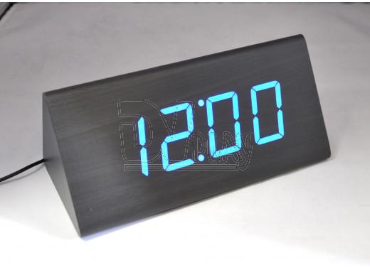 VST-866-5 часы настольные в деревянном корпусе с синими цифрами