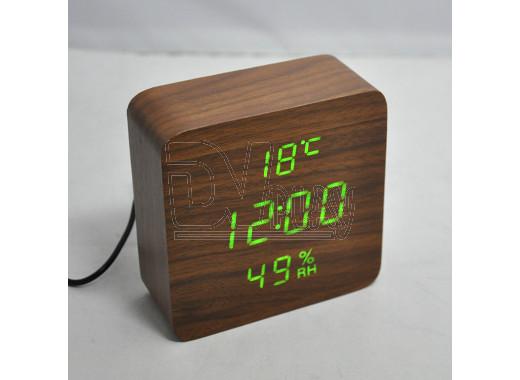VST-872-S-4 часы настольные в деревянном корпусе с датчиком влажности с зелеными цифрами