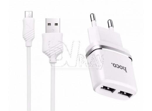 Зарядное устройство 2 USB 2.4A Hoco. C12 + кабель microUSB
