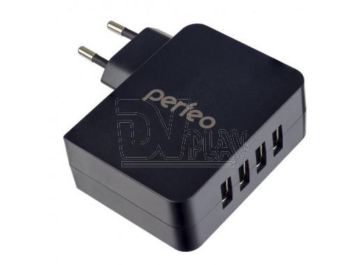 Зарядное устройство 4 USB 4.9A Perfeo Cube 4 черное