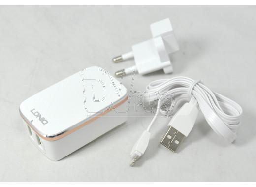 Зарядное устройство LDNIO A2204Q 2.4A + кабель iPhone 5