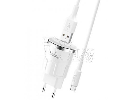 Зарядное устройство USB 2.4A Hoco. C37A + кабель microUSB