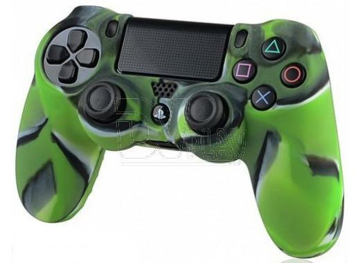 Силиконовый чехол зеленый камуфляж на геймпад PlayStation 4