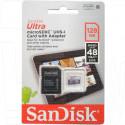 microSD 128Gb SanDisk Class 10 Ultra с адаптером