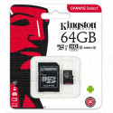 microSDHC x64Gb Kingston Class 10 UHS-I U1 + адаптер