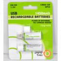 Аккумуляторы HR6/NH-AA USB Rechargeable Batteries 1.2V/1450mAh в упаковке 2 шт