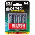 Аккумуляторы Perfeo HR6 2700mAh NiMH BL4 AA в упаковке 4 шт