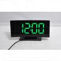 Часы-будильник DS-3621L (черный корпус, зеленые цифры)
