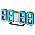 Часы-будильник Perfeo PF-663 Luminous (черный корпус, синие цифры)