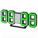 Часы-будильник Perfeo PF-663 Luminous (черный корпус, зеленая подсветка)