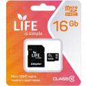 microSDHC 16Gb Life Class 10 с адаптером