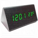 VST-861-4 часы настольные в деревянном корпусе с зелеными цифрами