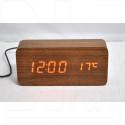 VST-862-1 часы настольные в деревянном корпусе (коричневый корпус, красные цифры)