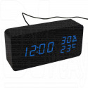 VST-862S-5 часы настольные в деревянном корпусе с датчиком влажности (черный корпус, синие цифры)