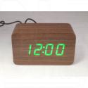 VST-863-4 часы настольные в деревянном корпусе (коричневый корпус, зеленые цифры)