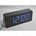 VST-865-5 часы настольные в деревянном корпусе (синие цифры)