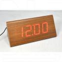 VST-866-1 часы настольные в деревянном корпусе с красными цифрами