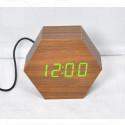 VST-876-4 часы настольные в деревянном корпусе (коричневый корпус, зеленые цифры)
