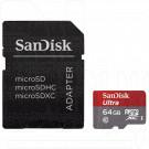 microSDHC 64Gb SanDisk Class 10 Ultra UHS-I с адаптером