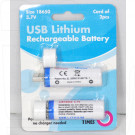 Аккумуляторы 18650 USB Lithium Rechargeable Batteries 3.7V/1400mAh в упаковке 2 шт