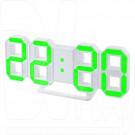 Часы-будильник Perfeo PF-663 Luminous (белый корпус, зеленая подсветка)