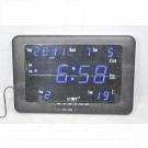 VST 802-W-5 часы настенные с датой и термометром с ярко-синими цифрами