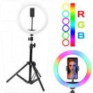 Кольцевая светодиодная селфи лампа RGB разноцветная 33 см
