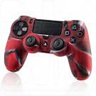 Силиконовый чехол красный камуфляж на геймпад PlayStation 4
