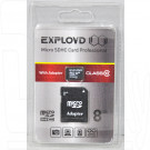 microSD 8Gb Exployd Class 10 с адаптером