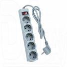 Сетевой фильтр Perfeo Power Hub (5 розеток, 1 м) серый