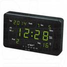 VST 802-W-4 часы настенные с датой и термометром с ярко-зелеными цифрами